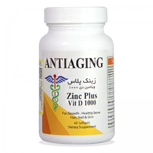 کپسول زینک پلاس ویتامین د 1000 آنتی ایجینگ 60 عددی