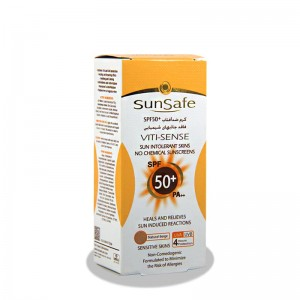 کرم ضدآفتاب SPF50 بژ طبیعی سان سیف مناسب پوست حساس 50 گرم