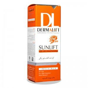 کرم ضد آفتاب SPF50 بدون رنگ فاقد چربی درمالیفت 40 میلی لیتر