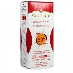 کرم ضد آفتاب SPF50 ضد چروک بژ روشن سان سیف 50 گرم