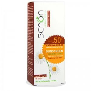کرم ضد آفتاب SPF50 رنگ طبیعی  پوست خشک تا نرمال شون 50 میلی لیتر