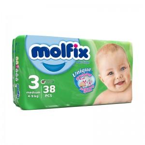 پوشک بچه مولفیکس سایز 3  بسته 38 عددی