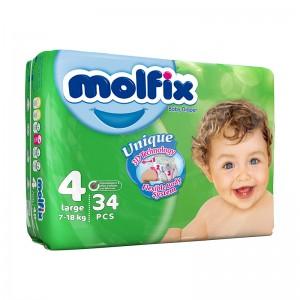 پوشک بچه مولفیکس سایز 4 بسته 34 عددی