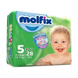 پوشک بچه مولفیکس سایز 5 بسته 28 عددی