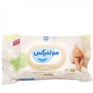 دستمال مرطوب بچه پوست حساس مولفیکس 60 عددی