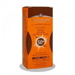 کرم ضدآفتاب +SPF50 بدون رنگ فاقد چربی آنتی آکنه سان سیف 50 میلی لیتر